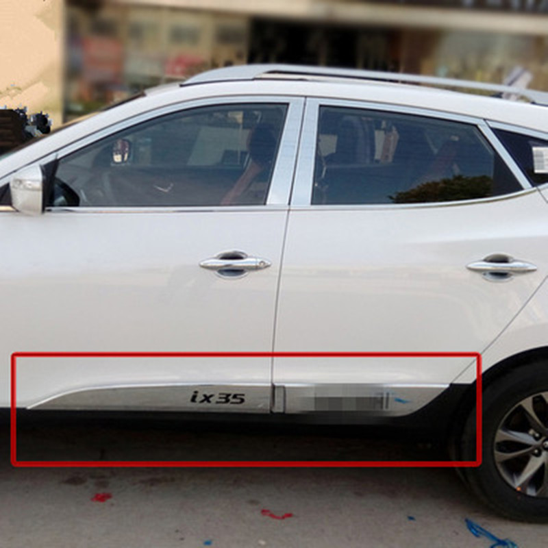 Car styling ABS Chrome body side moldings side door decoration For Hyundai ix35 2009 2010 2011 2012 for forester chrome body side moldings side door decoration