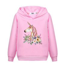 a58c21a986eb Flower Unicorn Clothes Girl's Spring Hoodie Thin Cotton Casual Pullover  Kids Zebra Print Sweatshirt Girl Fashion