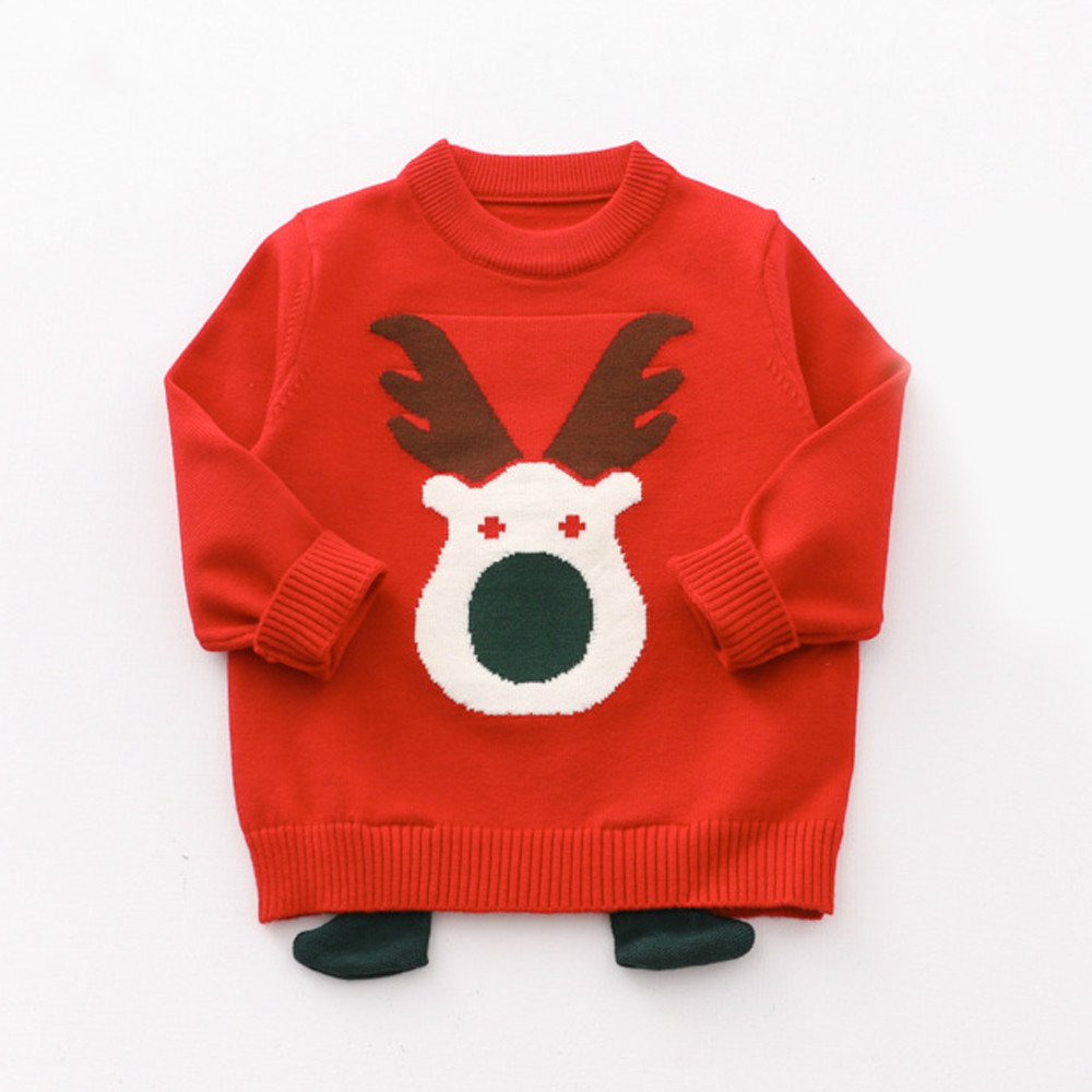# K06705 Weihnachten Elch Pullover Jungen Gestrickte Pullover Für Mädchen Jungen