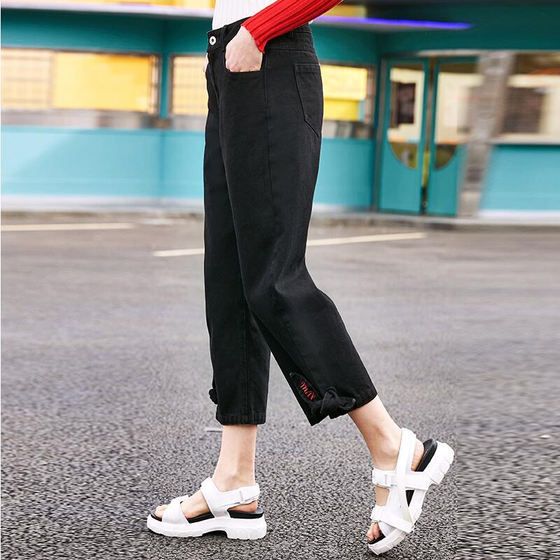 Arrivée Solide Nouvelle Black Cheville Couleur 2019 Denim longueur Pantalon Jeans Printemps Mode Femmes Ox5RE