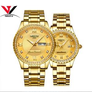 Image 2 - Montres NIBOSI pour amoureux unisexe montre de luxe pour hommes et montres pour femmes montre bracelet à Quartz étanche montre bracelet pour femme en cristal