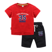 BOTEZAI Fashion baby sports suit children summer boys and girls set cotton printing card two sets of childrens clothes