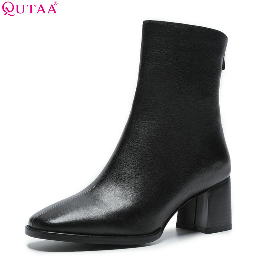 QUTAA 2019 Women Ankle Boots Cow Leather +Pu Zipper Square Toe Platform Solid Winter Shoes Woman Motorcycle Boots Big Size 34-40 morazora ankle boots for women fashion shoes woman cow suede leather boots solid zipper platform womens boots size 34 40