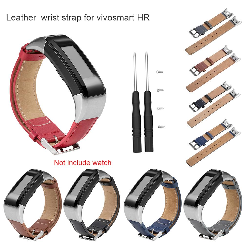 Shzons Brand New Leather Watch Strap For Garmin vivosmart HR Smart Watch Replacement Watch Strap For Vivosmart HR Smart Band цена