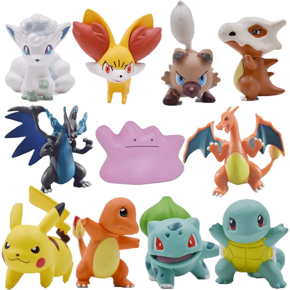 Charizard Charmander Cubone Bulbasaur Alola Fennekin Chespin Pikachu Squirtle Froakie Rockruff Abra Anime Action Toy Figures