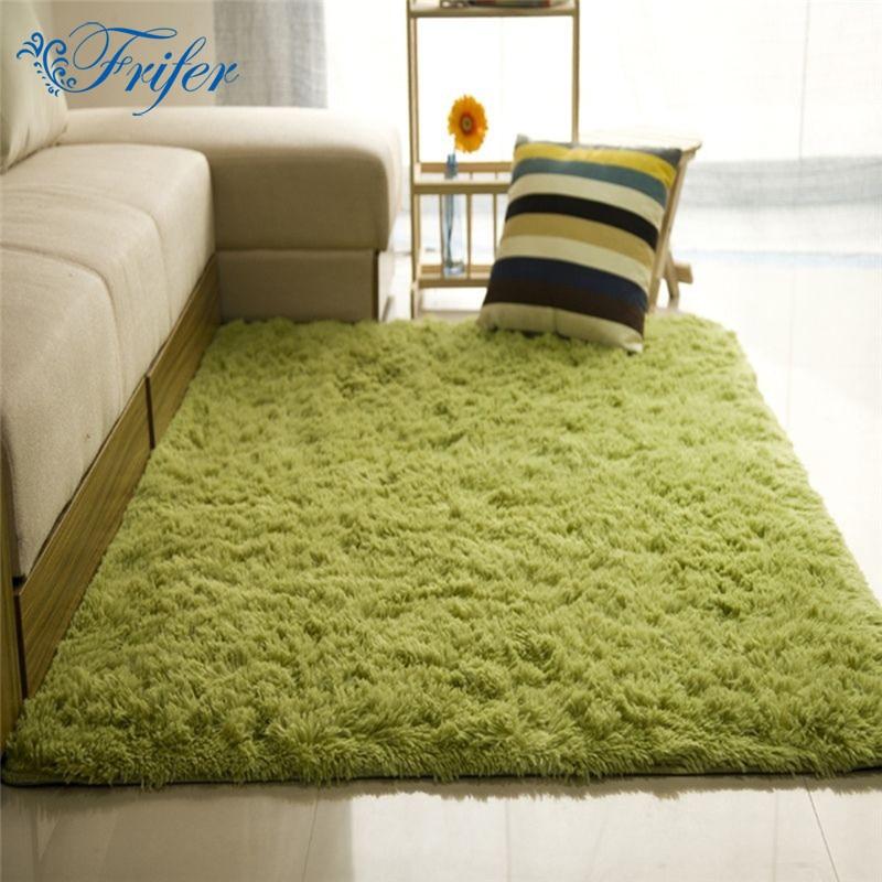 Super Soft Silk Artificial Wool Rug Indoor Modern Shag Area Rug Silky Rugs Bedroom Floor Mat Baby Nursery Rug Children Carpet