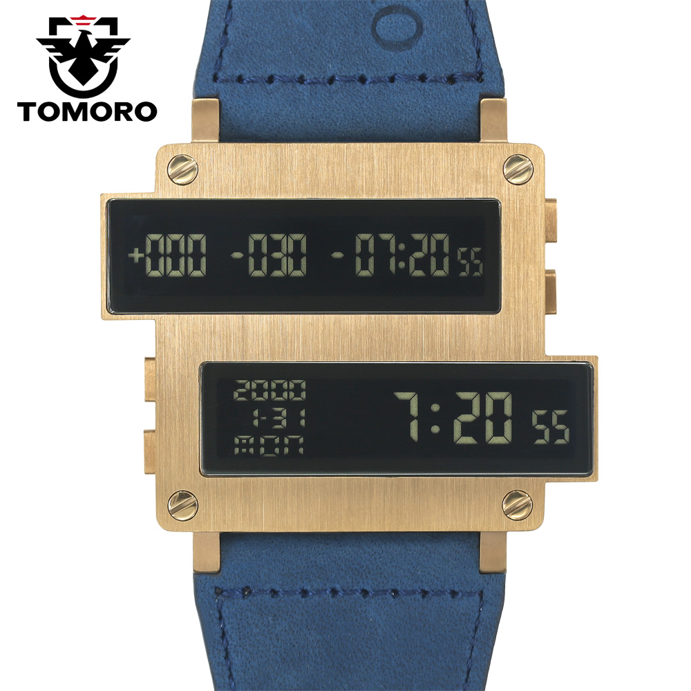 TOMORO 2018 Ny Original Design Top Mænd Countdown Timer LED Clock Large Oversize 316 STEEL Cow Læder Usædvanlige Limited Watches