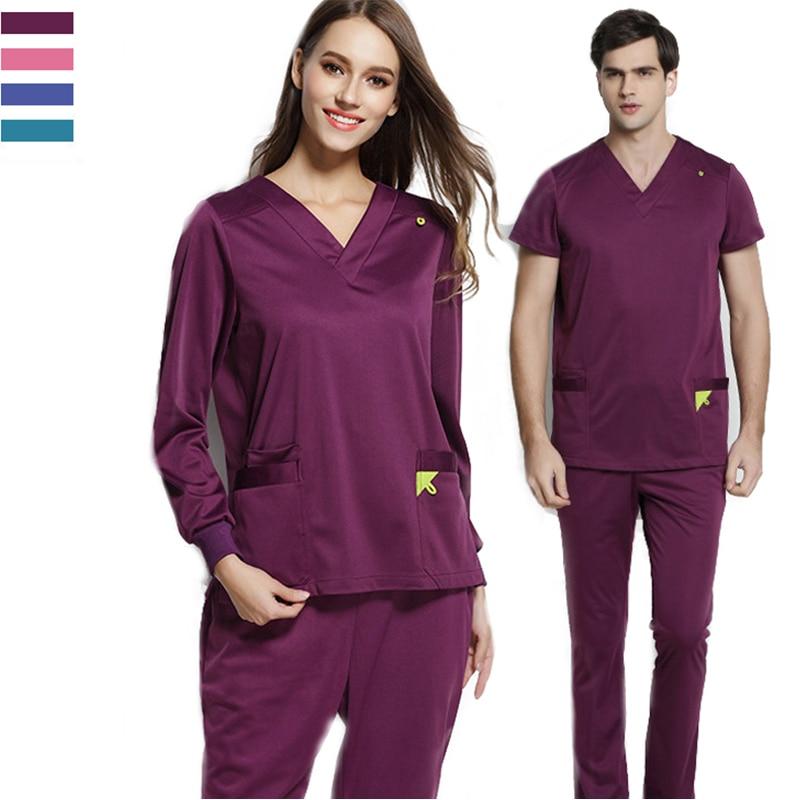 Infinity Stretch Rib Knit Scrubs Medical Uniforms Women Men Winter Top And Pant Full Elastic Drawstring Medical Clothes Spot Set