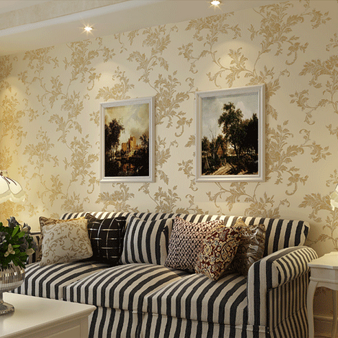 European Pastoral 3D Woven Wallpaper Embossed Elegant Off White Bedroom, Living  Room TV Backdrop