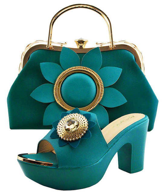 Teal blue fashion lady shoes and clutches bag with big flower wedding party  african aso ebi shoes and bag matching set SB8198-4 3692c991413e