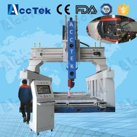 3D woodworking 5 axis wood carving machine with ac servo spindle motor, 5 axis cnc machine for sale