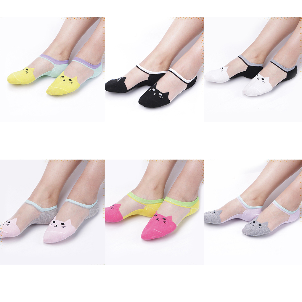 Brand new Women Cat Pattern Crystal Silk   Socks   Short   Socks   Ultrathin Transparent Low Cut   Socks