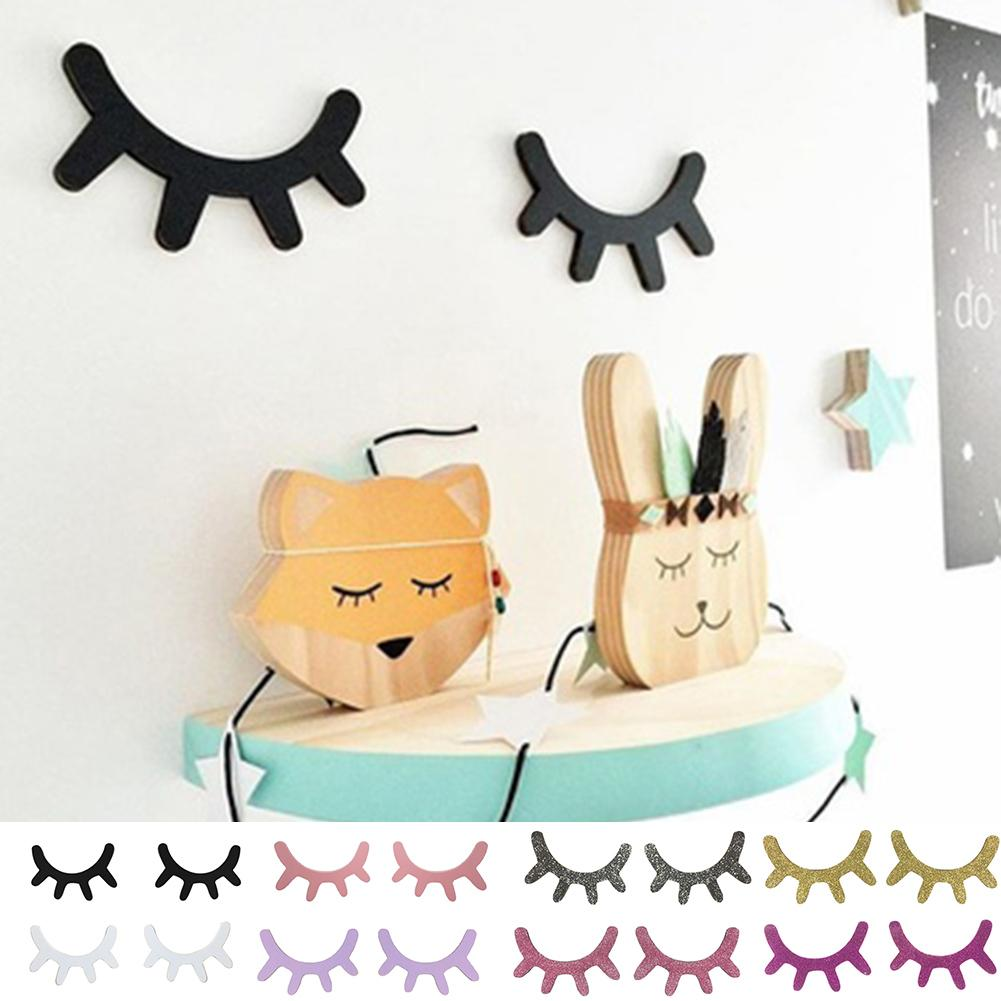 2Pcs Nordic Style Cute Wooden Eyelashes Wall Sticker DIY Kids Bedroom Living Room Decal Wall Sticker Decoration Drop Shipping