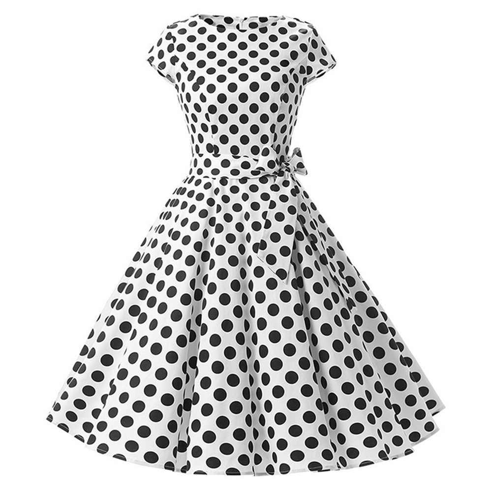 4673755f4f ... Sisjuly 1950s retro dresses women polka dots bowknot a line black  elegant tea rockabilly vintage women ...