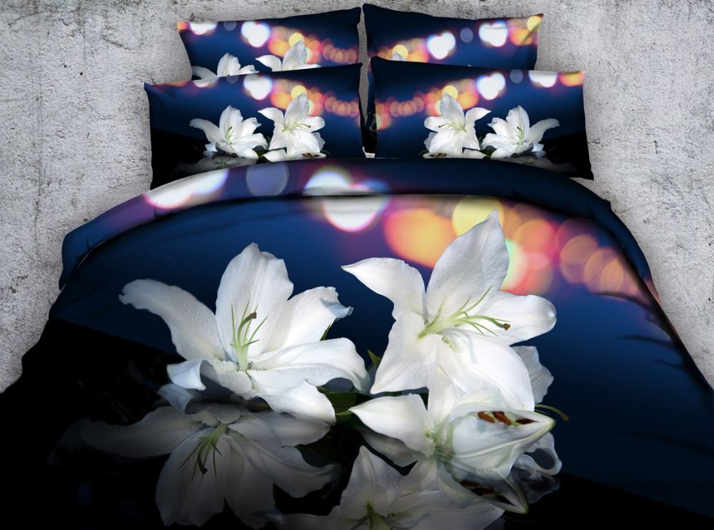 3pcs pure lily flower and butterfly printed bedding set HD white  pink lily bed linen contains 1 duvet cover 2 shams queen king