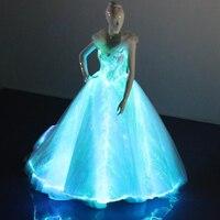 Новейшие Модные свет волоконно оптических ткань линии свадебные вечерние платье взрослых женщин сексуальный световой платье с большой пла