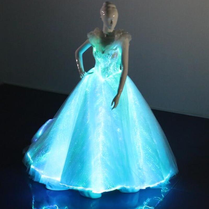 Новейшая мода светильник ткань из оптического волокна Линия Свадебные вечерние платья для взрослых женщин сексуальное светящееся платье с большим платьем на шнуровке