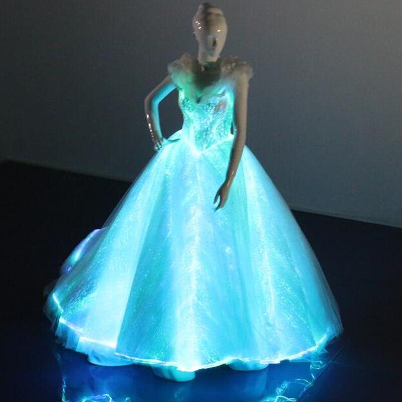 la luz de fibra óptica de tela una línea vestido de boda mujeres
