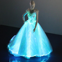 Newest fashion light up fiber optical fabric A line wedding Party dress adult women sexy Luminous dress with big gown lace up
