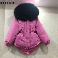 Высокое качество 2017 зимняя куртка Для женщин из меха енота пальто с капюшоном парки верхняя одежда зимнее пальто Женская куртка парка корот