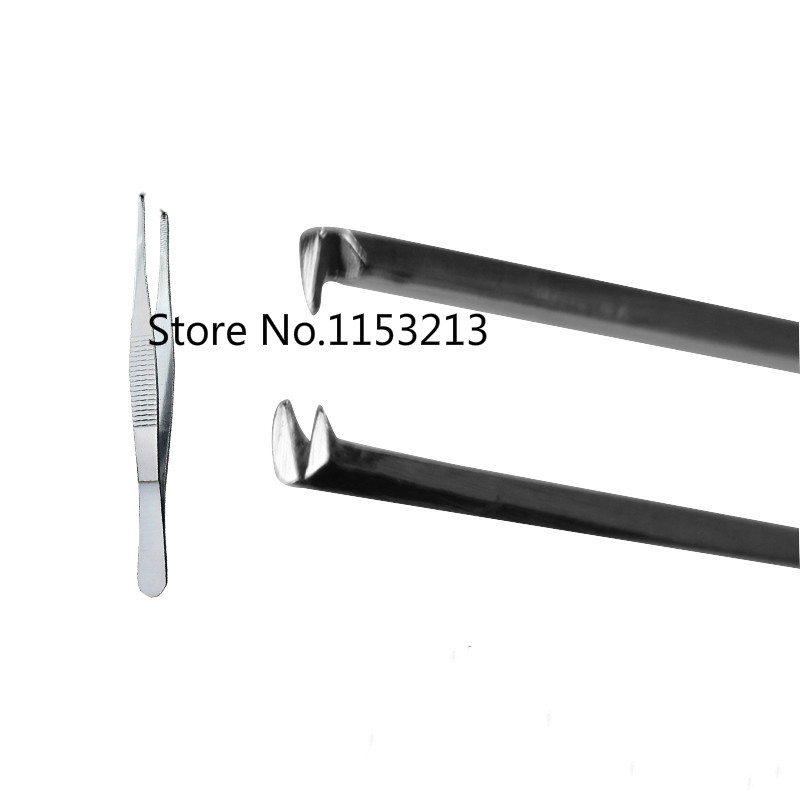 Surgical Home 16cm Heat Resistant Medical Dressing Forceps Tissue Forceps Stainless Steel Organization Tweezers Hook 1*2