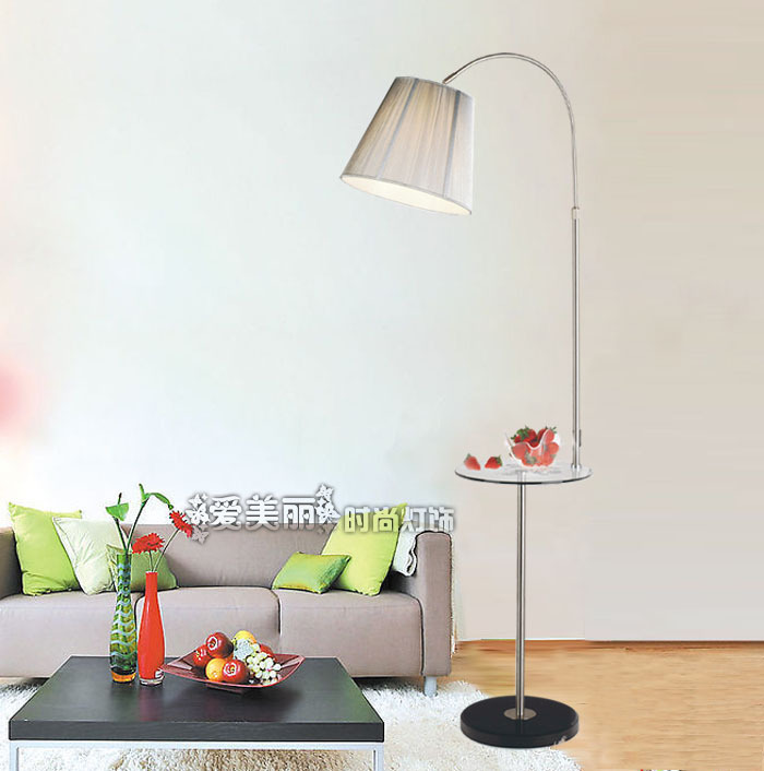 Brief fabric steel modern lamp stainless floor fashion NkX08PnOw
