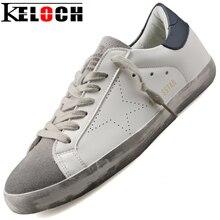 Kelochผู้ชายอิตาลีหรูหรารองเท้าลำลองผู้หญิงRestoreโบราณสไตล์หนังPUรองเท้าC Haussureหายใจแฟลตผู้ชายแฟชั่นรองเท้า