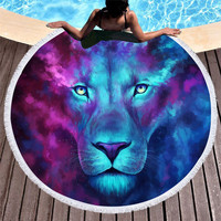 JoJoesArt Blue lion Microfiber Large Round Beach Towel Thick Terry Cloth Tassel Beach Blanket Serviette Adult bath towel