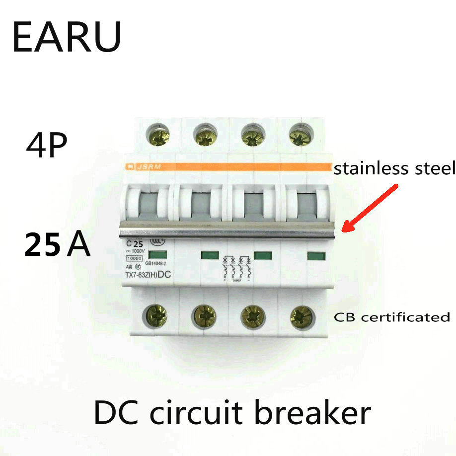 4P 25A DC 1000V DC Circuit Breaker MCB for PV Solar Energy Photovoltaic System Battery C curve CB Certificated Din Rail Mounted