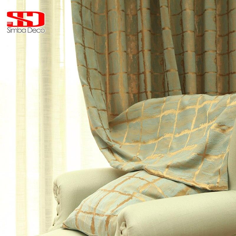 Geometric Jacquard Modern Curtains Simple Design Living: Modern Geometric Jacquard Curtains For Living Room Flocked