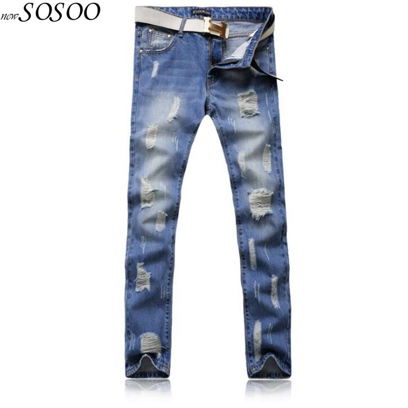 2018 man jeans 100% cotton classic blue ripped jeans for men high quality fashion slim jeans pants jenas men #Y062
