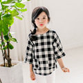 The latest 2016 girls shirt sleeve shirt in cuhk child grid cotton leisure parent-child outfit
