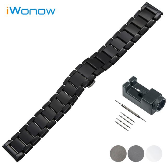 Cheio de cerâmica relógio banda 22mm para asus zenwatch 1 2 homens wi500q wi501q butterfly buckle strap correia de pulso pulseira preta branco