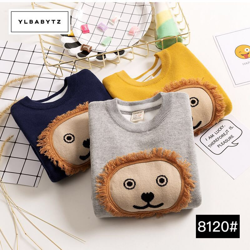 2018 new children sweater cartoon sweater autumn and winter boy sweater lion pattern shirt Kids warm round neck sweater clothing beige round neck love patchwork sweater