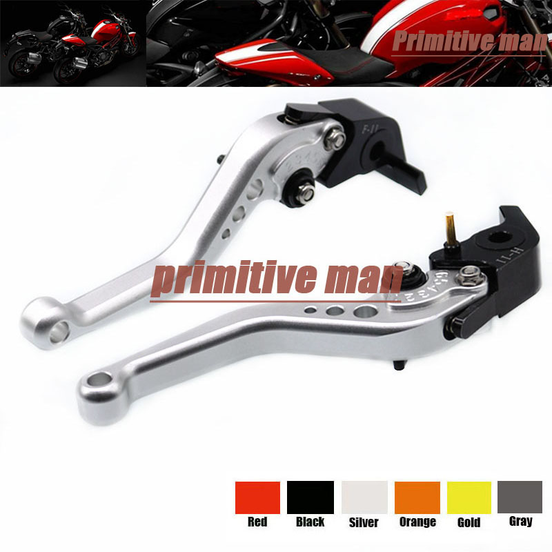 For DUCATI MONSTER 1200 14-15 MONSTER 1100 09-13 Motorcycle Accessories Aluminum short Brake Clutch Levers Silver billet alu folding adjustable brake clutch levers for motoguzzi griso 850 breva 1100 norge 1200 06 2013 07 08 1200 sport stelvio