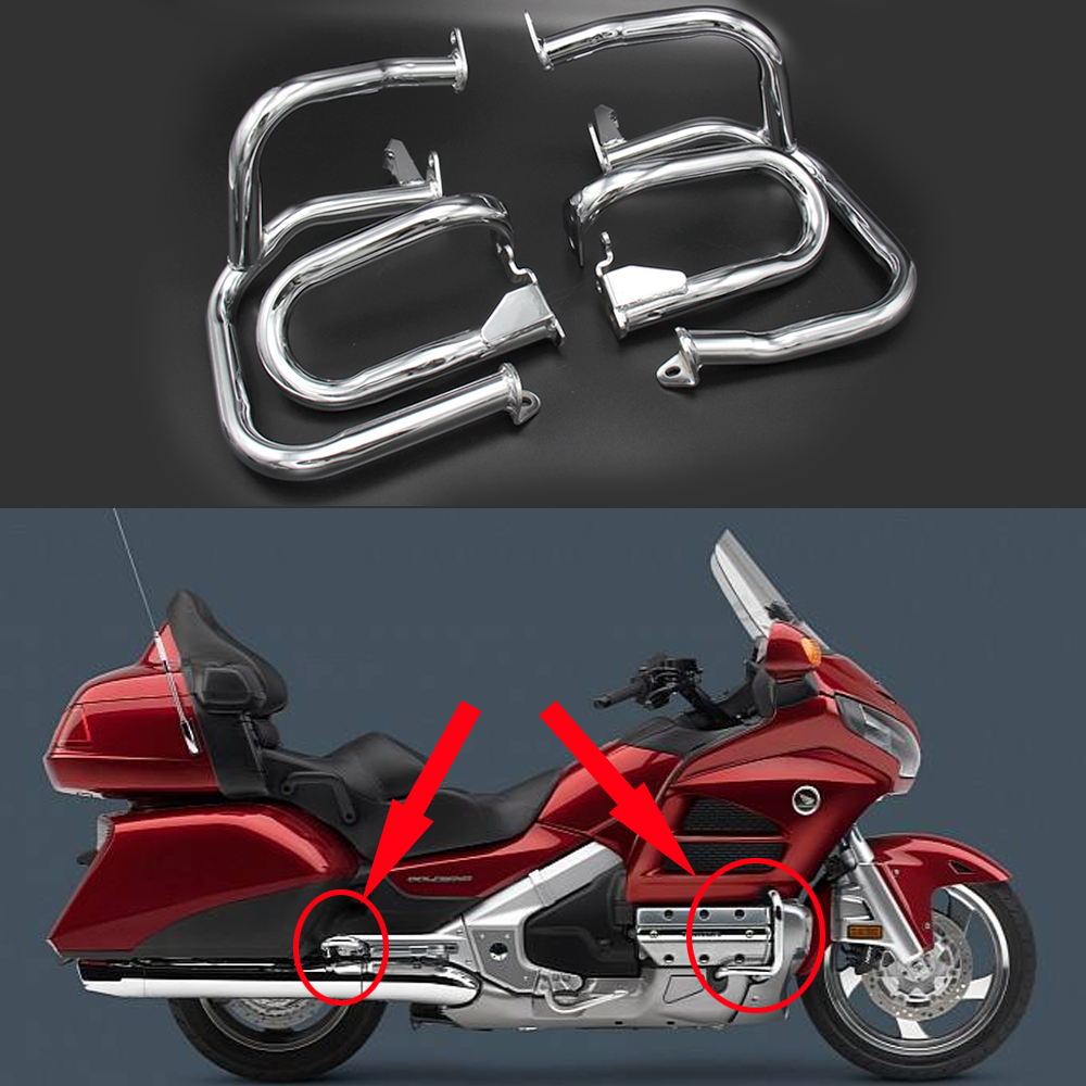 Front Rear Iron Engine Case Guards Bars For Honda GOLDWING GL1800 2001 2016 GL1800A 2001 2005