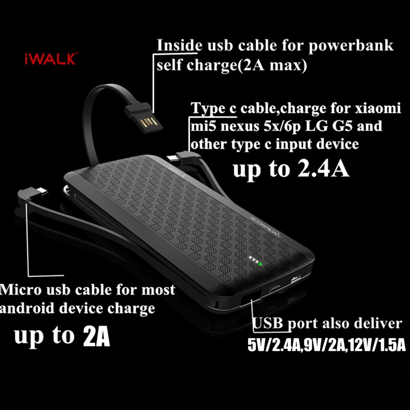 iWalk TYPE C 8000MAH Power bank Charger QC3 0 9V 2A Type c Cable Micro usb