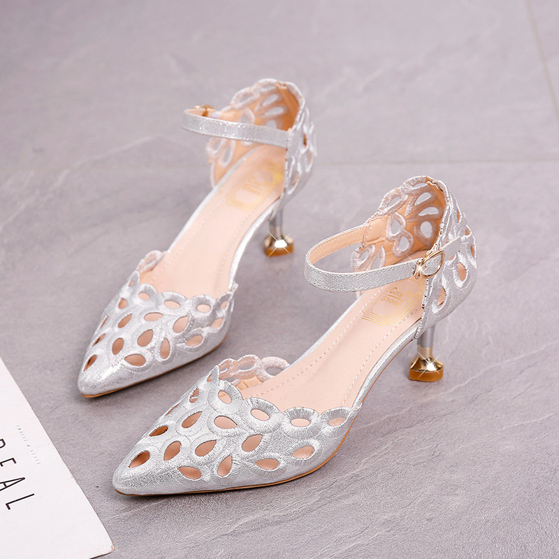 Summer Dance Shoes Hundred Up Hollowed Out Sandals New Women One Word Buckle Fine Shoes Cusp Hollow Single Shoe Pumps