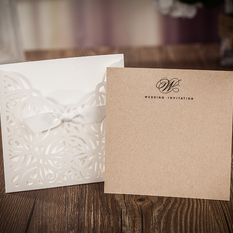 White Square Laser Cut Flower With Bowknot Lace Pocket Enement Wedding Invitations Card 100 Pcs Lot Cw6179w In Cards From Home Garden On
