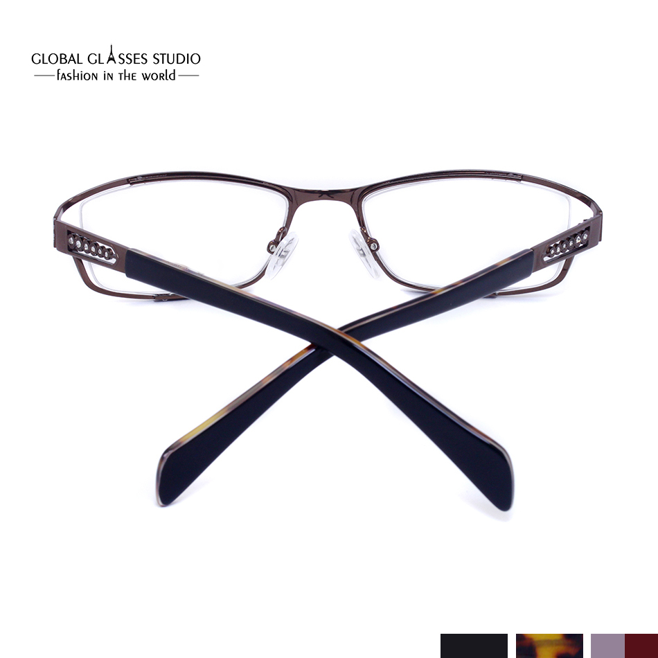 91d4862e7a6c Fashion Women Metal Optical Frame Eyeglasses Crystal Stones Decoration with acetate  temple tips Black Purple Brown 5060-in Eyewear Frames from Apparel ...