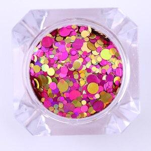 Image 5 - 1Box 2g Nail Art okrągłe kształty konfetti cekiny kolorowe brokat 1mm 2mm 3mm paznokci Paillette Flakies 8 kolory dostępne