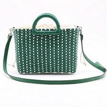2019 יד ארוג קש תיק ירוק לבן צבע התאמה חוף תיק קש כתף תיק נשים Crossbody נסיעות תיק