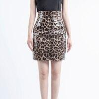 Korean pencil sexy Genuine Leather skirt faldas mujer moda 2019 sexy mini skirt leopard print sheepskin skirts womens
