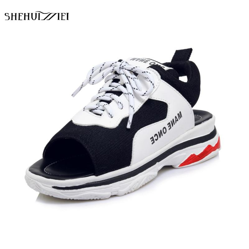 SHEHUIMEI Women Platform Sandals Sneakers Big Size 32-45 2018 Classic Women Casual Summer Shoes Women Flats Fashion Shoes Woman