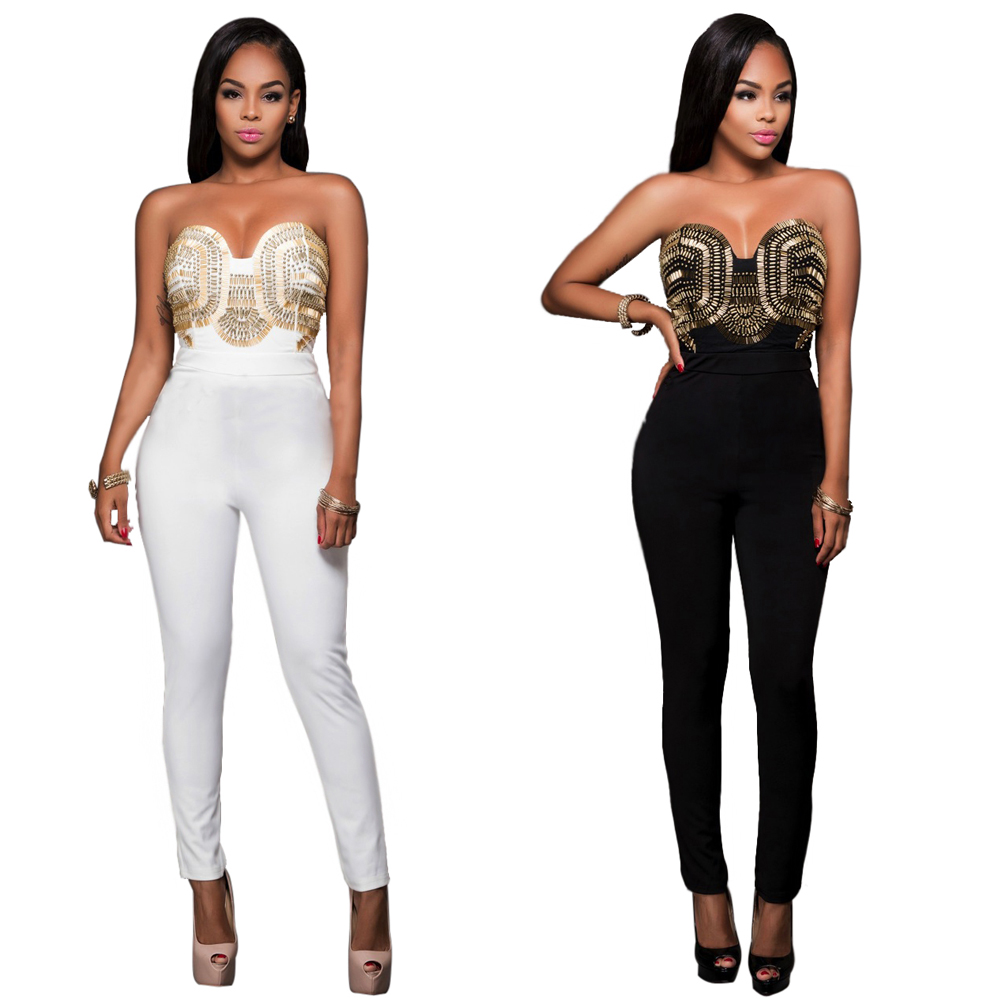 Black/White Sexy Jumpsuits Strapless Bodysuit Rompers Womens Jumpsuit Off Shoulder Sequin Bodycon Woman With Long Pants bodysuit