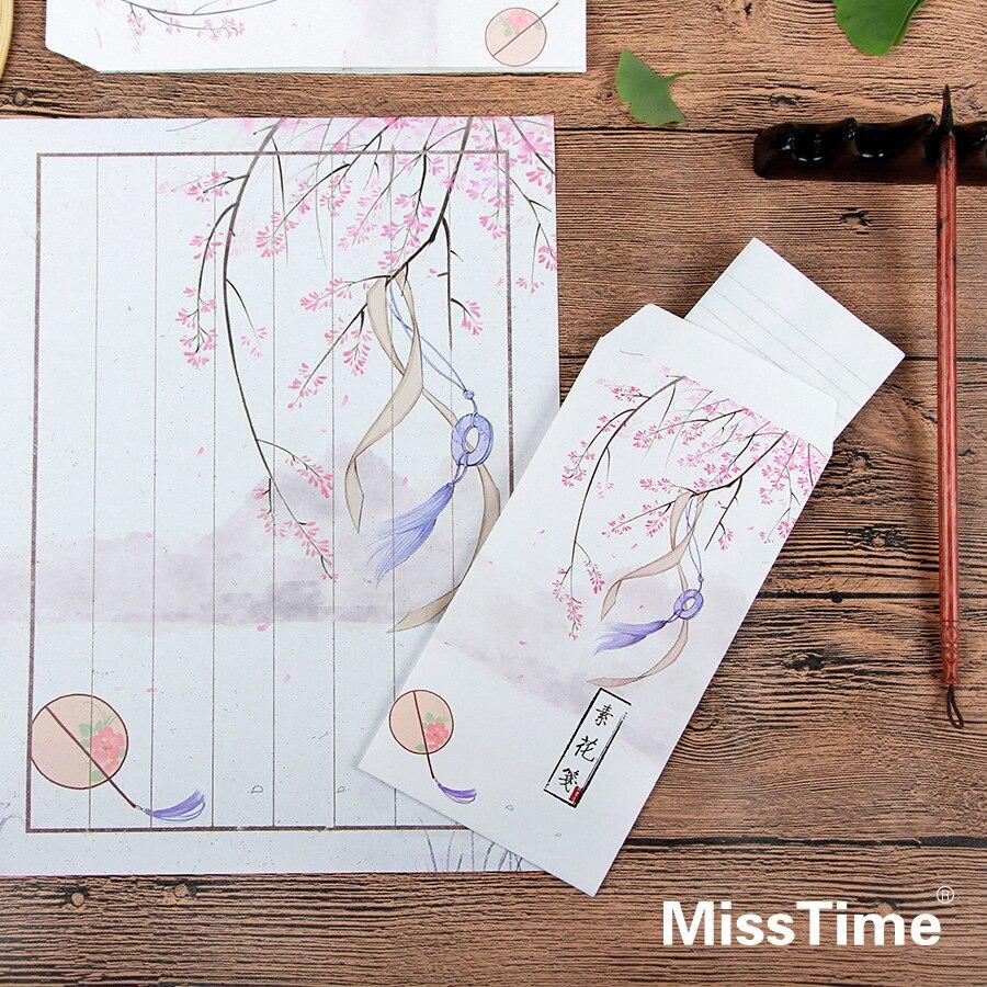 9pcs/Set 3 Envelopes + 6 Writting Paper Creative Tree And Flower Series Envelope For Gift Korean Stationery