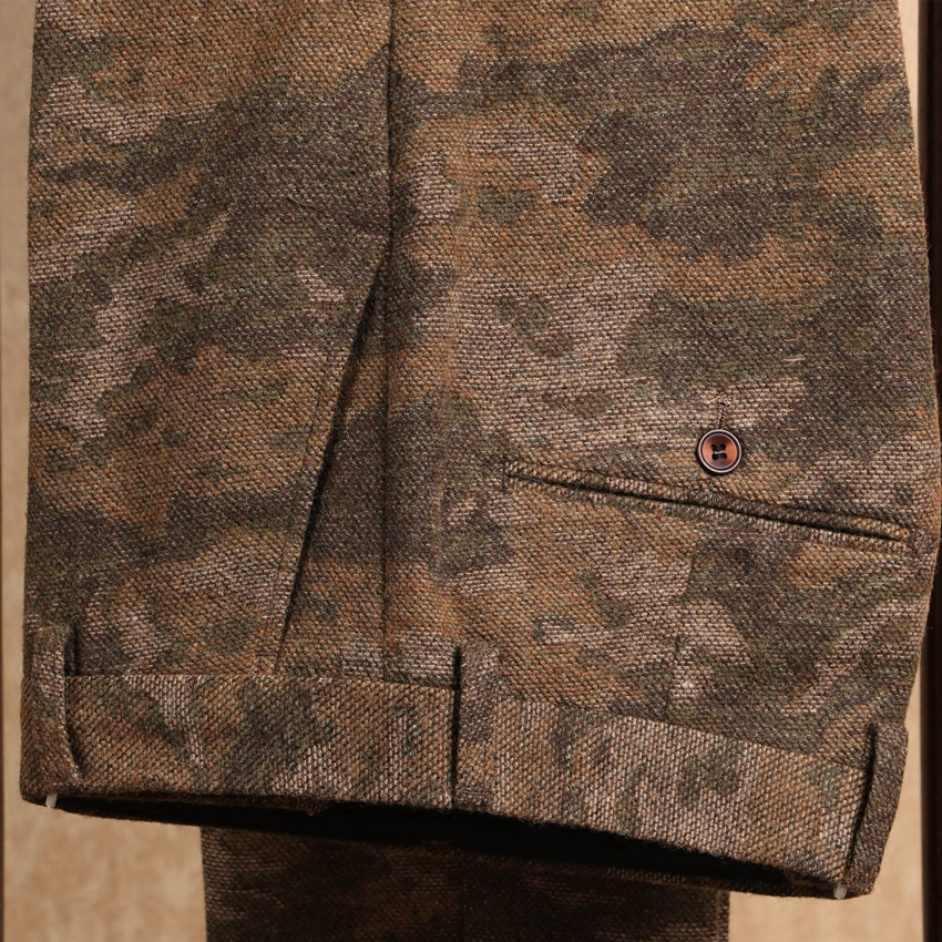 mens Camouflage suit pants wool slim fit British tweed work office trousers male straight business formal dress pantalon homme