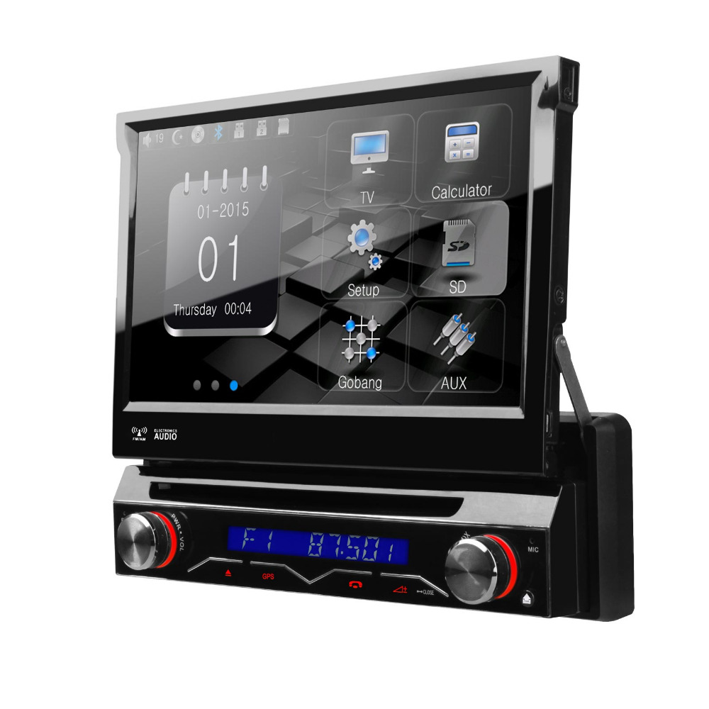 7 Motorized Detachable HD Touch Screen Single Din font b Car b font Radio One Din