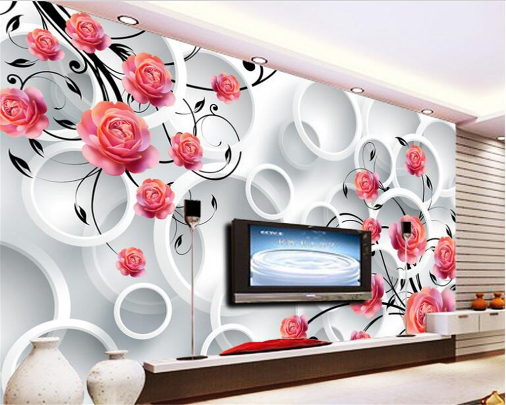 beibehang 3d wallpaper photo wall paper rose circle fantasy flower living room sofa bedroom background 3d big wallpaper wall shinehome black white cartoon car frames photo wallpaper 3d for kids room roll livingroom background murals rolls wall paper