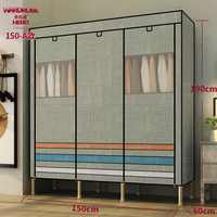 KY94 Simple steel tube bold reinforcement double assembly storage cloth wardrobe with PE transparent window/16cm leg height